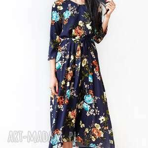 sukienki granatowa sukienka w kwiaty, sukienka, midi, uniwersalna, swobodna
