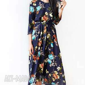 Granatowa sukienka w kwiaty sukienki hanka sukienka, midi