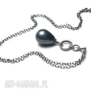 Petrol pearl - naszyjnik, srebro, perła, seashell, petrol, łańcuszek