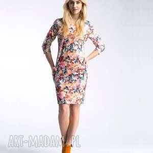 sukienka sonia mini celine, mini, kwiaty, łączka, kieszenie, kangurek, wygodna