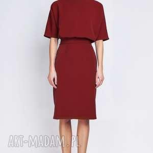 handmade sukienki sukienka z dopasowanym dołem, suk123 bordo