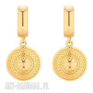 sotho złote kolczyki z medalionami - żółte kolczyki