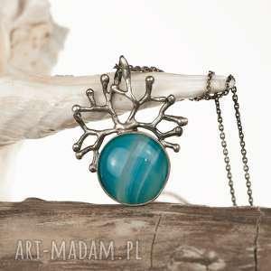 Prezent a430 Levente blue - naszyjnik srebrny , naszyjnik-srebrny, naszyjnik-z-agatem