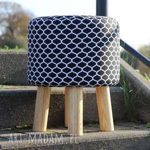 ręcznie robione pufy pufa czarne maroco - 36 cm