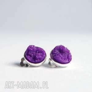Klipsy - druzy fioletowe małe liliarts klipsy, druzy, żywica