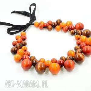 rude korale drewniane, kolia, długie korale, naszyjnik, drewniany, święta