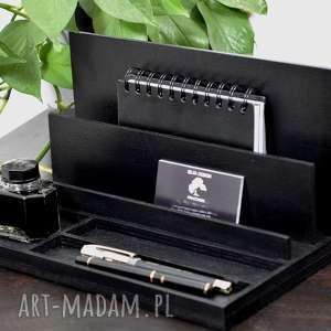 organizer na biurko, drewniany, czarny, przybornik