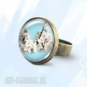 pierścionek - kwitnące kwiaty antyczny brąz, pierścionek, kwiaty, wiśnia