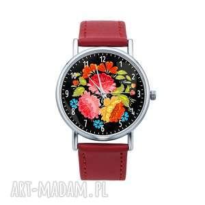 Zegarek z grafiką LUDOWY BUKIET, folk, etniczne, folklor, polski, kwiaty, kwiatki