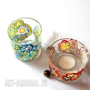 Fosforowe kwiatkowe świeczniki pi art świeczniki, malowane