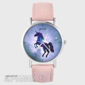zegarek yenoo - jednorożec, unicorn pudrowy róż, skórzany