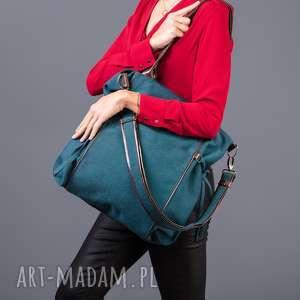 Amber - duża torba shopper morska plecionka i brąz na ramię