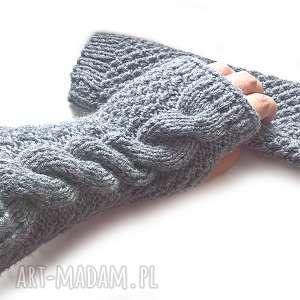 mitenki rękawiczki wełniane - popielate z warkoczem, rękawiczki