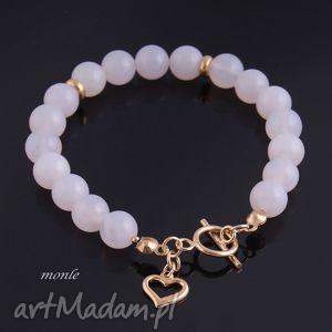 Biały puch, bransoletka z agatów - ,bransoletka,pozłacane,srebro,serce,biżuteria,