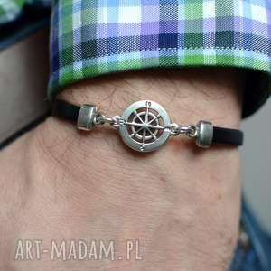 hand-made męska bransoletka skórzana hombree magnetoos kompas black