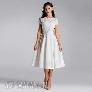 sukienka klara total midi biel haft angielski, sukienka
