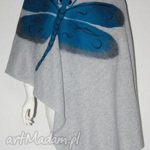 szal filcowany wełna zdobiony - filcowanie, wełna, prezent, urodziny, dzianina