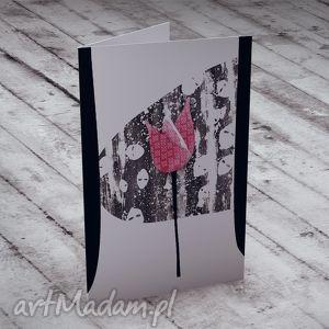 Karteczka z Tulipanem..., kartka, życzenia, tulipan, kwiaty, c6, urodziny