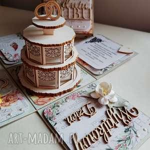 exploding box ślubny z tortem, box, ślub, prezent, tort, ozdoba