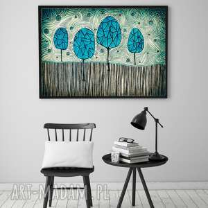 drzewa a2, grafika, sztuka, plakat, ilusyracja, obraz
