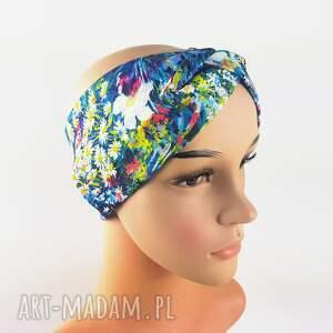 opaska turban wielokolorowa ciepła, kwiaty, turban, opaska, joga, żagle, rower