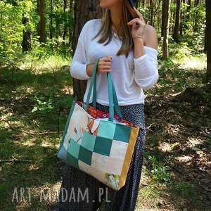 na ramię kolorowa torba z kwadracików, torba, torebka, eko nawakacje