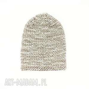 rekaproduction gruba czapka melanżowa unisex zrobiona na drutach, czapkamelanżowa