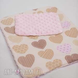 Pościel dla lalek w serca z minky, pościel, serca, dziewczynka, lala, łóżeczko, minky