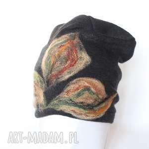 czapka wełniana damska czarna, wełna, zima, kwiaty, czapka, etno, prezent