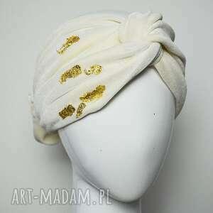 opaska welurowa, opaska, turban, złoto, ecru, ivory, welur