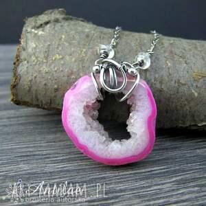 hand made naszyjniki naszyjnik ze srebra i różowego agatu z druzą