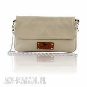 Skórzana torebka na łańcuszku - 50%, skóra, torebka, damska, skóranaturalna, ecru
