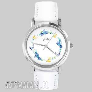 Prezent Zegarek, bransoletka - Wianek, motyle biały, skórzany, zegarek,