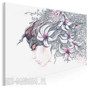 Obraz na płótnie - kobieta kwiaty 120x80 cm 14401 vaku dsgn