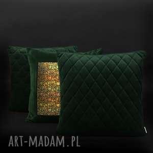 Poduszki ekskluzywne - zestaw 4 butelkowa zieleń i złoto majunto