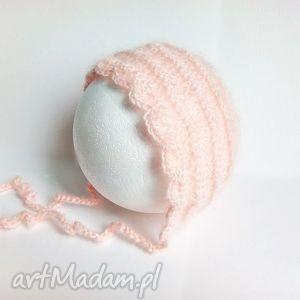 hand-made czapki szydełkowa bonetka newborn - pastelowy róż
