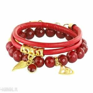 hand-made bransoletki sada 2 - red & gold