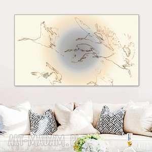delikatna grafika na ścianę, żurawie w locie, 70 x 40, obraz płótnie do salonu
