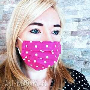 maseczki maseczka ochronna różowa w białe groszki, maseczka, maska