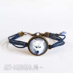 bransoletka - biały wilk granatowa, antyczny brąz, sznureczki