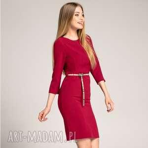 sukienka ołówkowa sara czerwień malinowa, sukienka, dopasowana