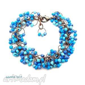 bransoletki kaskada - niebiesko fioletowa, koraliki, drobne, perwinkle, miedź