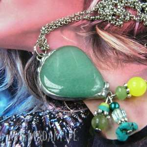 Kolorowy wisior z łańcuszkiem: awenturynem, długi-naszyjnik, wisior-z-kamieni