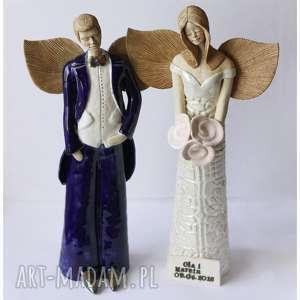 Para ślubna z dedykacją, ceramika, anioł, ślub