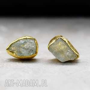 925 Srebrne kolczyki pozłacane18k złotem z akwamarynem * LINIA PREMIUM*, akwamaryn