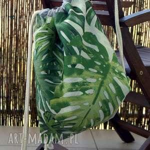 plecak / worek, monstera, wzór botaniczny, plecak, wakacje, prezent, liście, święta