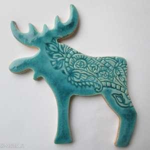 turkusowy renifer magnes, świąteczny, upominek, łoś, ceramiczny, unikalny
