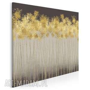 obraz na płótnie - abstrakcja złoty - w kwadracie - 80x80 cm (69502)