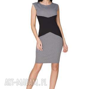 Sukienka wyszczuplająca T238, czarny pepitko, sukienka, taliowana, dajaca, efekt