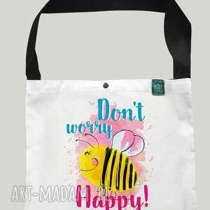 torba worek dont worry bee happy, pszczoła, bawełniana, zakupy
